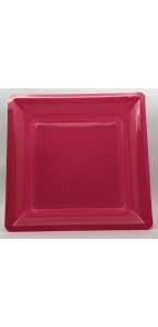 Lot de 8 assiettes à dessert jetables carrées fuschia 16,5 cm