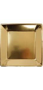 Lot de 8 assiettes carrées jetables en carton or