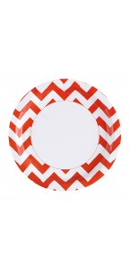 Lot de 8 assiettes Chevron orange  22,8 cm