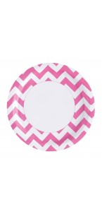Lot de 8 assiettes Chevron rose 22,8 cm