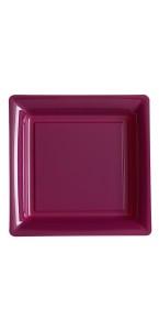 Lot de 8 assiettes réutilisables carrées aubergine 30,5 cm