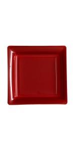 Lot de 8 assiettes jetables carrées bordeaux 21,5 cm