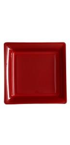 Lot de 8 assiettes jetables carrées bordeaux 30,5 cm