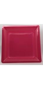Lot de 8 assiettes réutilisables carrées framboise 21,5 cm