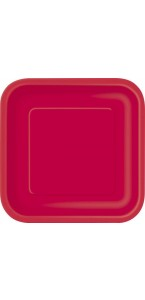 Lot de 8 assiettes jetables carrées rouge 21,5 cm
