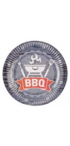 Lot de 8 assiettes jetables  en carton BBQ Party 23 cm