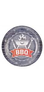 Lot de 8 assiettes jetables  en carton BBQ Party 23 cm