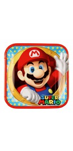 Lot de 8 assiettes jetables en carton Super Mario 23 cm