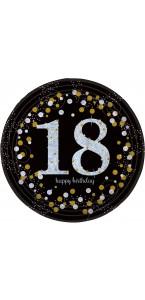 Lot de 8 assiettes jetables Sparkling Celebration 18 ans en carton D 23 cm