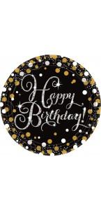 Lot de 8 assiettes jetables Sparkling Celebration en carton D 23 cm