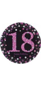 Lot de 8 assiettes jetables Sparkling celebration rose en carton 18 ans D 23 cm