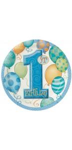 Lot de 8 assietttes bleues baby chic 1st Birthday 18 cm