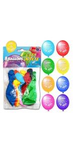 Lot de 8 ballons de baudruche en latex C'est La fête muliticolores