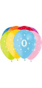 Lot de 8 ballons de baudruche en latex Chiffre 0 D 30 cm