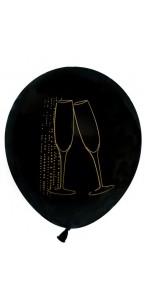 Lot de 8 ballons latex Champagne noir opaque D 23 cm