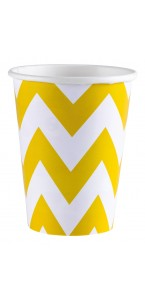 Lot de 8 gobelets Chevron jaune 26, 6 cl