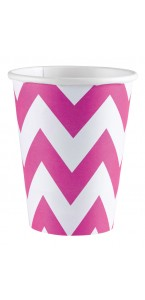 Lot de 8 gobelets Chevron rose 26, 6 cl