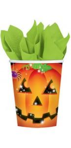 Lot de 8 Gobelets Citrouille Halloween en carton 26,6 cl