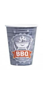 Lot de 8 gobelets jetables en carton BBQ Party 26 cl