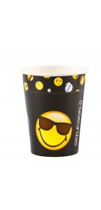 Lot de 8 gobelets jetables en carton Smiley Emoticons 26 cl