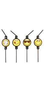 Lot de 8 pailles flexibles Smiley Emoticons 24 cm