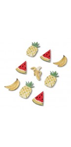 Lot de 9 Stickers Fruits exotiques 4,5 x 1,8 cm