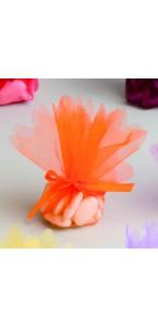 Lot de10 ronds de tulle cristal orange D 24 cm