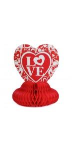 Love en papier alvéolé rouge 25 cm