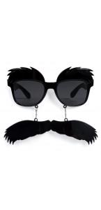 Lunettes sourcils et moustache noirs