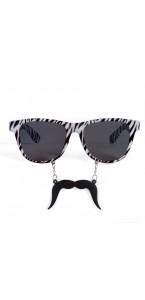 Lunettes zèbre avec moustache noires et blanches
