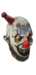 Masque clown effrayant chapeau pointu rouge Halloween