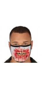Masque de protection tissu bouche sanglante Halloween