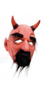 Masque diable rouge avec cornes et sourcils Halloween