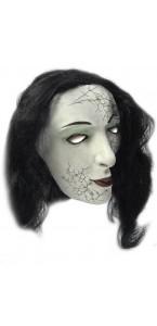 Masque femme fantômatique avec cheveux Halloween