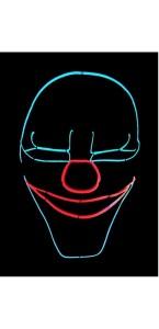 Masque la purge Clown effrayant néon Halloween
