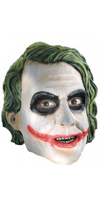 Masque latex Joker avec cheveux longs Halloween