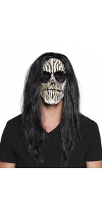 Masque latex Vaudou Halloween avec cheveux