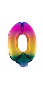 Mini Ballon chiffre 0 aluminium multicolore