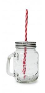 Mason Jar + paille en verre