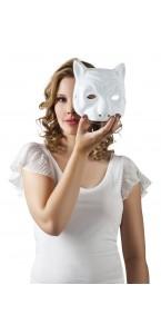 Masque chat blanc à peindre