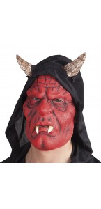 Masque diable rouge avec capuche en latex Halloween