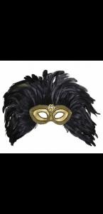 Masque doré avec perles et plumes