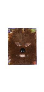 Masque loup-garou marron avec nez noir marron adulte