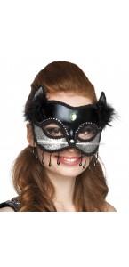 Masque Venice Micio noir et argent pailleté