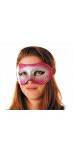 Masque vénitien rose et argent