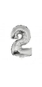 Mini Ballon chiffre 2 aluminium argent