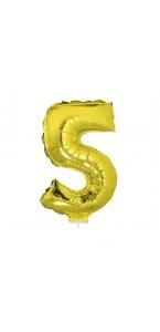 Mini Ballon chiffre 5 aluminium or