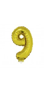 Mini Ballon chiffre 9 aluminium or