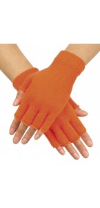 Mitaines orange fluo en tricot