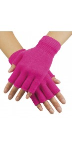 Mitaines rose fluo en tricot
